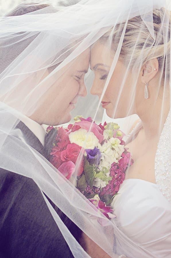 Bruden och brudgummen skyler under arkivfoto