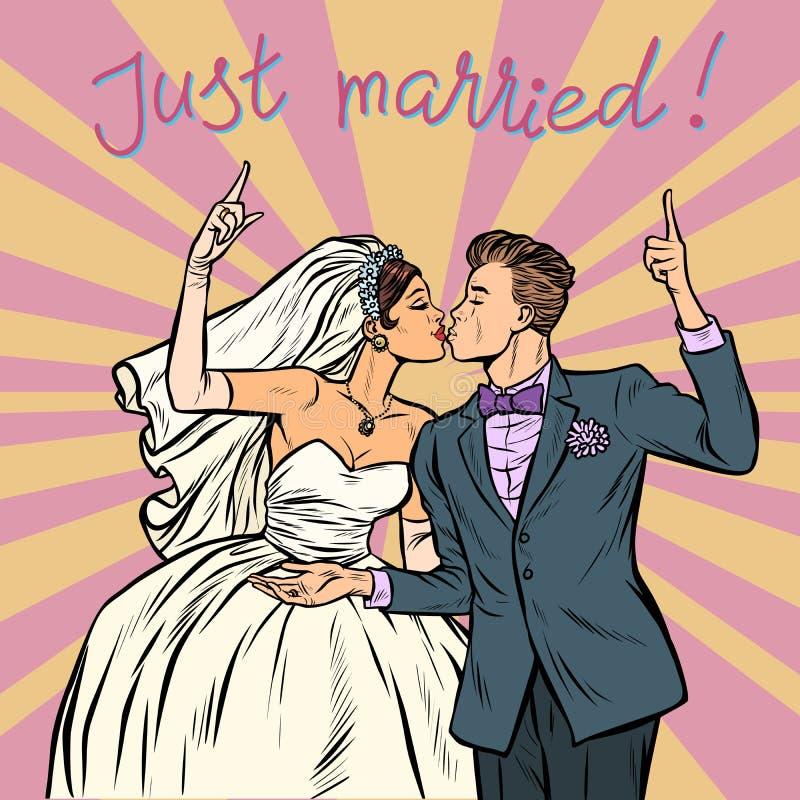 Bruden och brudgummen som gifta sig par att gifta sig precis royaltyfri illustrationer