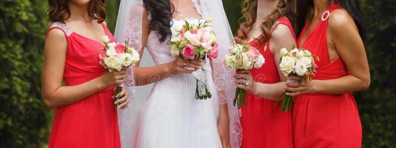 Bruden poserar med brudtärnor i rosa klänningar royaltyfri fotografi