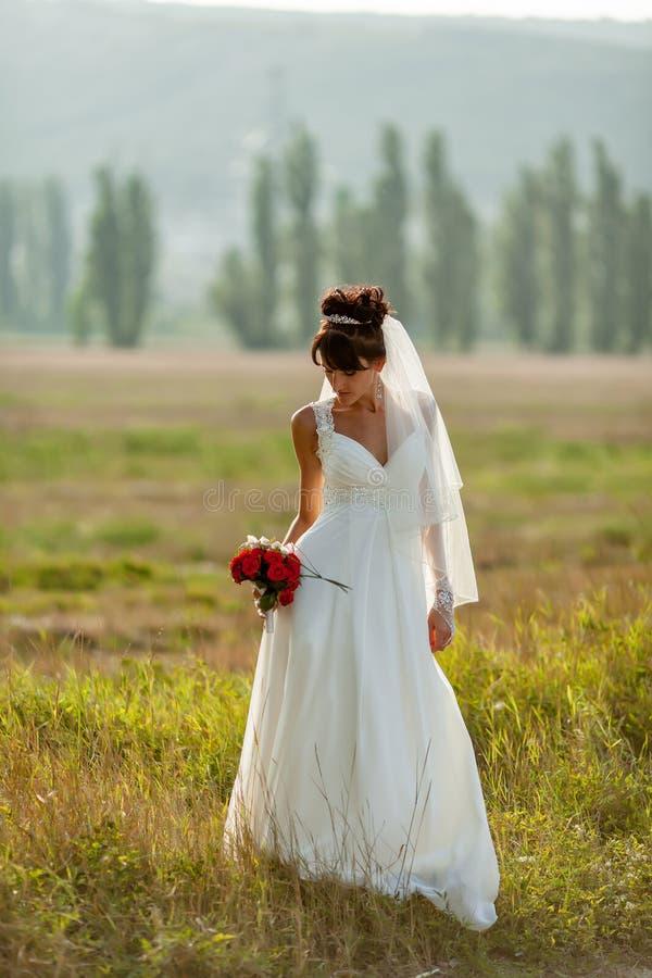 Bruden poserar utomhus arkivfoto