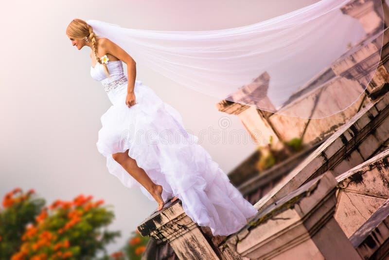 Bruden som bär i härlig klänning och, skyler arkivbilder