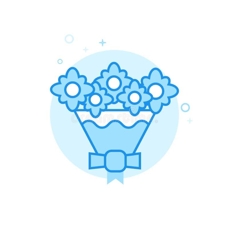 Brudens symbolen för vektor för bukett den plana, symbol, Pictogram, tecken Ljust - blå monokrom design Redigerbar slaglängd vektor illustrationer