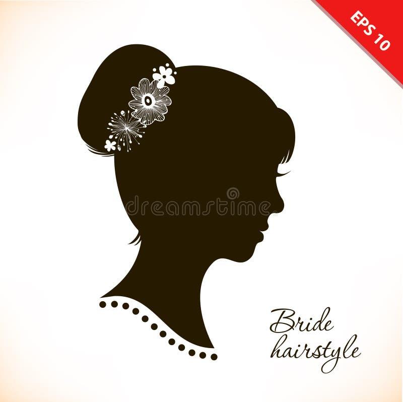 Brudfrisyr Härlig illustration med kvinnahuvudkonturn royaltyfri illustrationer