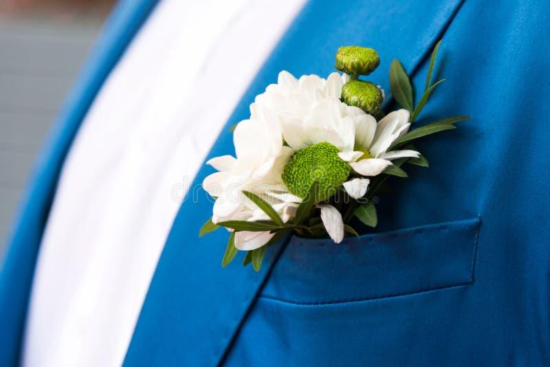 Brudgum i blå rutig dräkt royaltyfria bilder