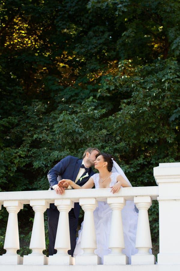 Brudgum i kyssande brudhand för vit skjorta Mycket försiktigt foto royaltyfria foton