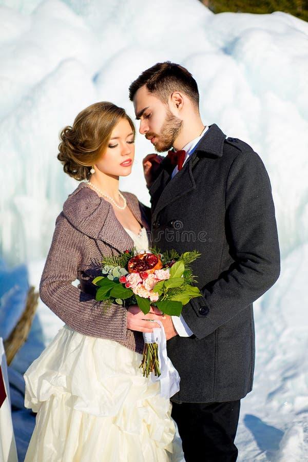 Brudgum med bruden i vintern royaltyfri foto