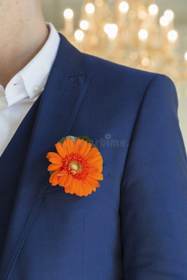 Brudgum med krysantemumboutonniere på bröllop royaltyfri foto