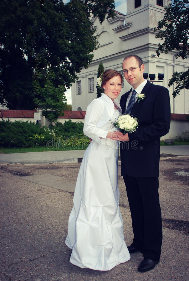 Brudgum Och Brud Fotografering för Bildbyråer