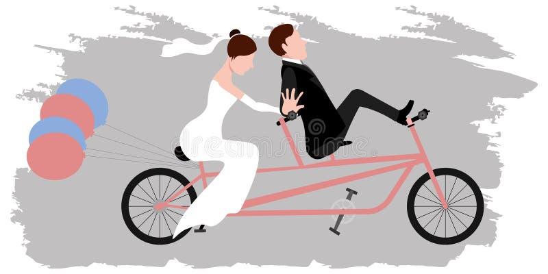 Brudgum och brud på en cykel par som att gifta sig bara vektor illustrationer