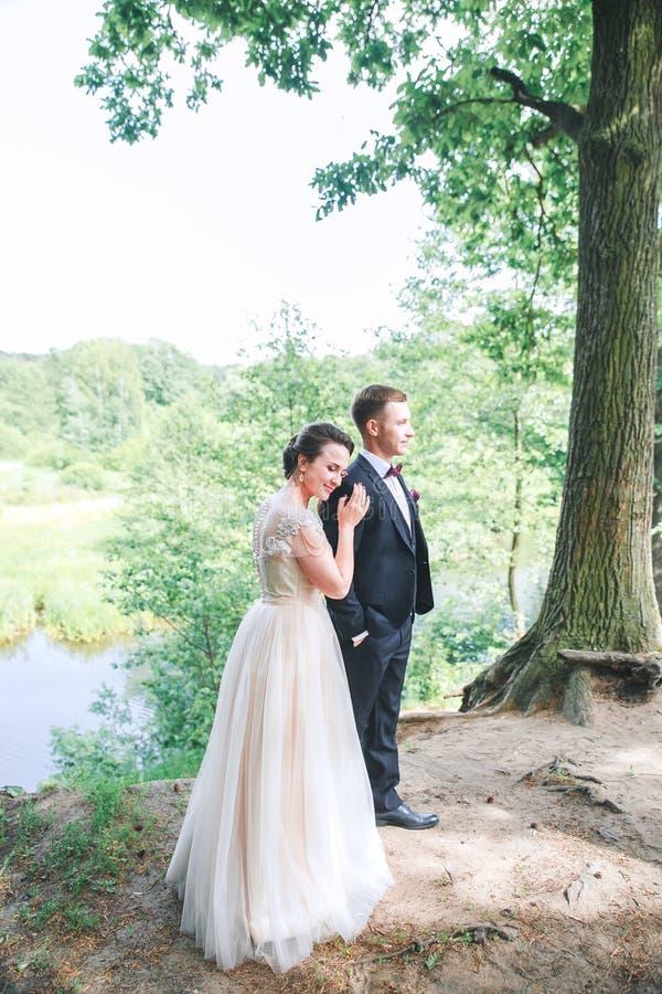 Brudgum och brud tillsammans Utomhus- romantiska par för bröllop arkivbild