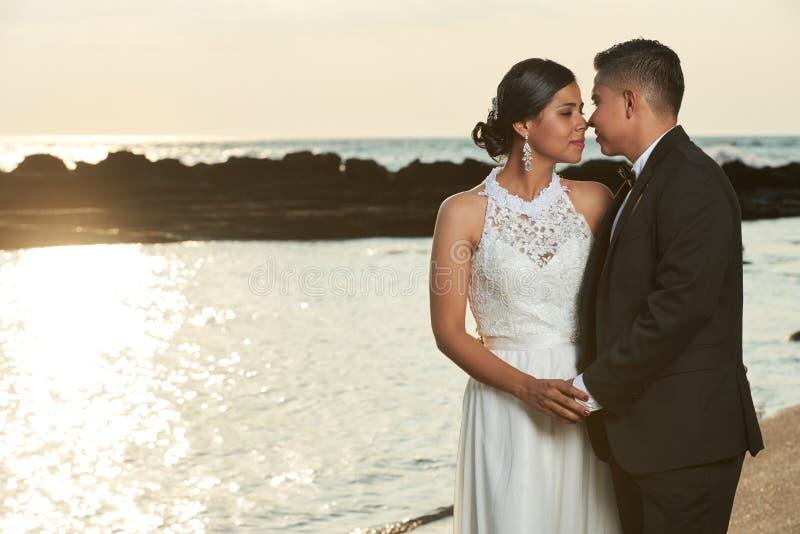 Brudgum som går att kyssa bruden royaltyfria bilder
