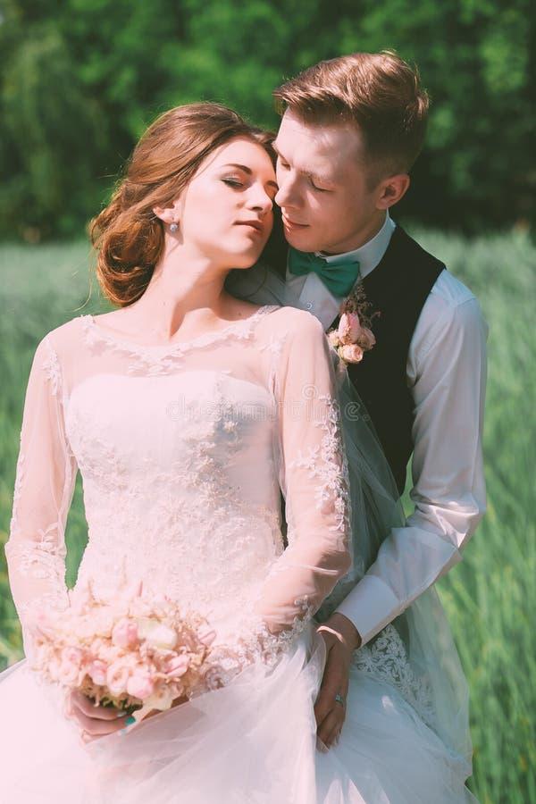 Brudgum som omfamnar bruden på fält royaltyfri bild