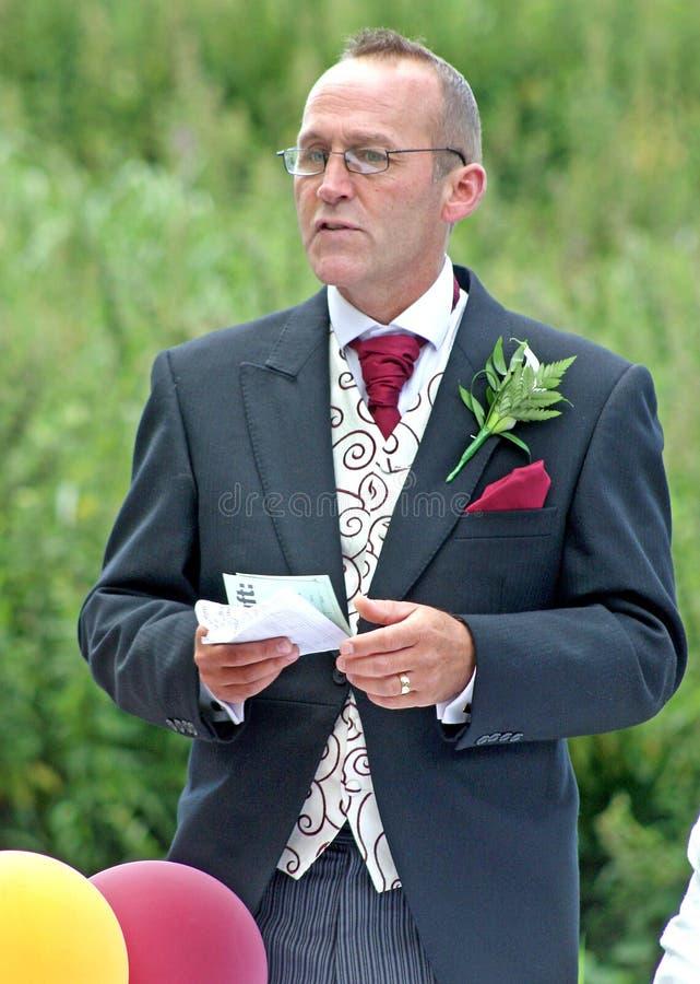 brudgumanförande royaltyfria foton