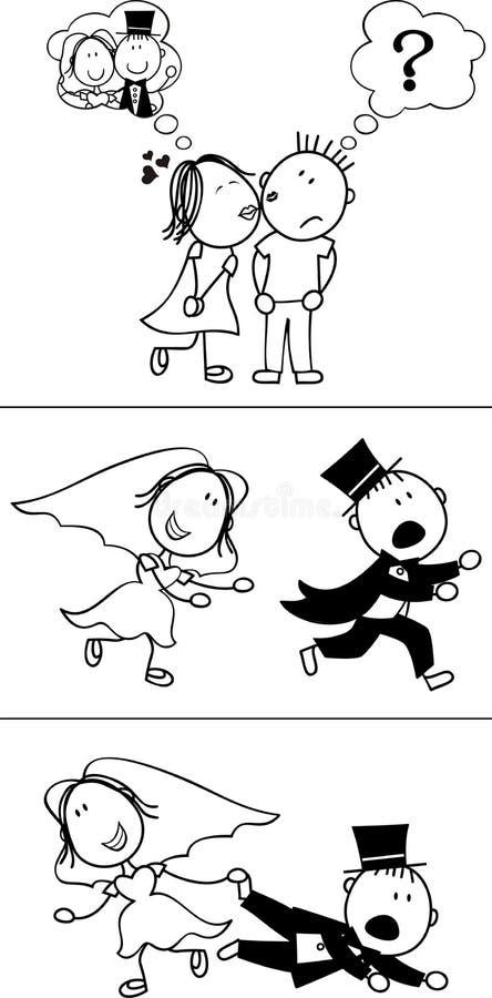 brudgumflykt stock illustrationer