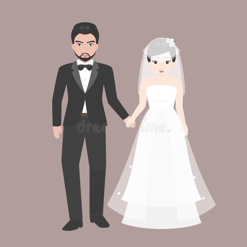 Brudguminnehavhanden med bron, vänpar i bröllop kostymerar begrepp royaltyfri illustrationer