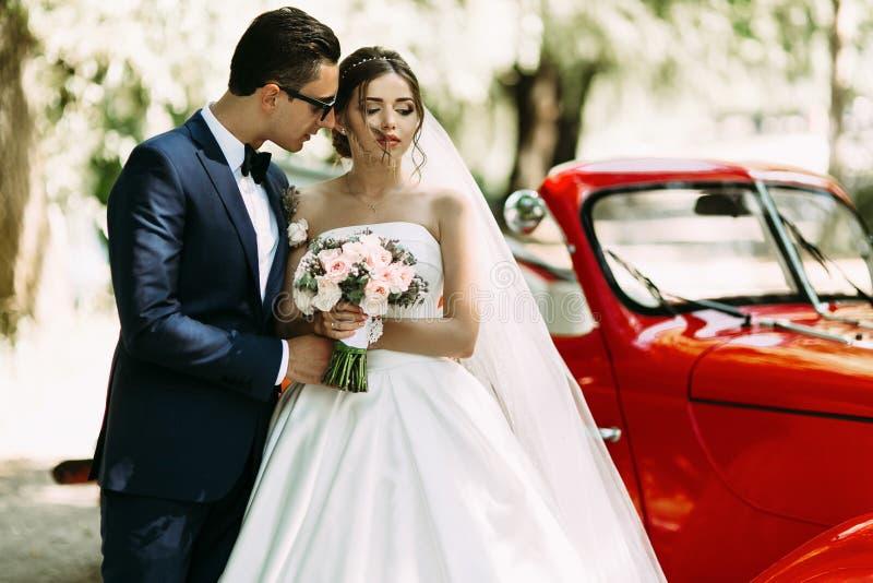 Brudgummen i solglasögon kelar hans ursnygga brud royaltyfri bild