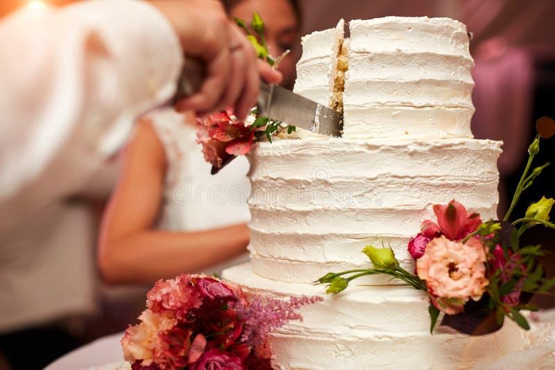 Brudgummen klipper bröllopstårtan arkivbild