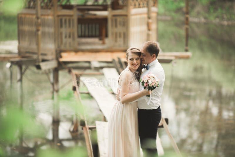 Download Brudgummen Kysser Brudens Panna, Medan Hon Lutar Till Honom Som Ler Fotografering för Bildbyråer - Bild av lyckligt, folk: 78726751