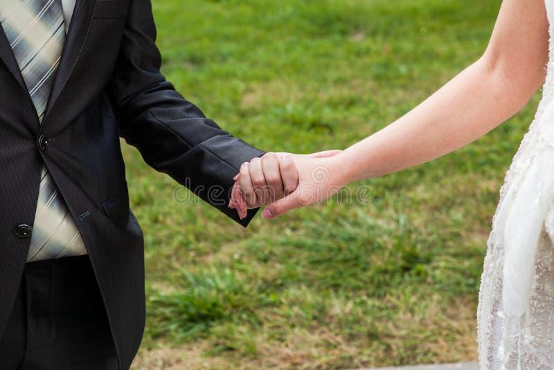 Brudgummen rymmer bruden vid handen royaltyfria bilder