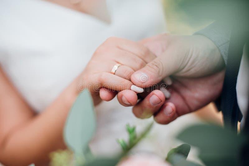 Brudgummen rymmer bruden vid handen, nära övre för vigselringar arkivbild