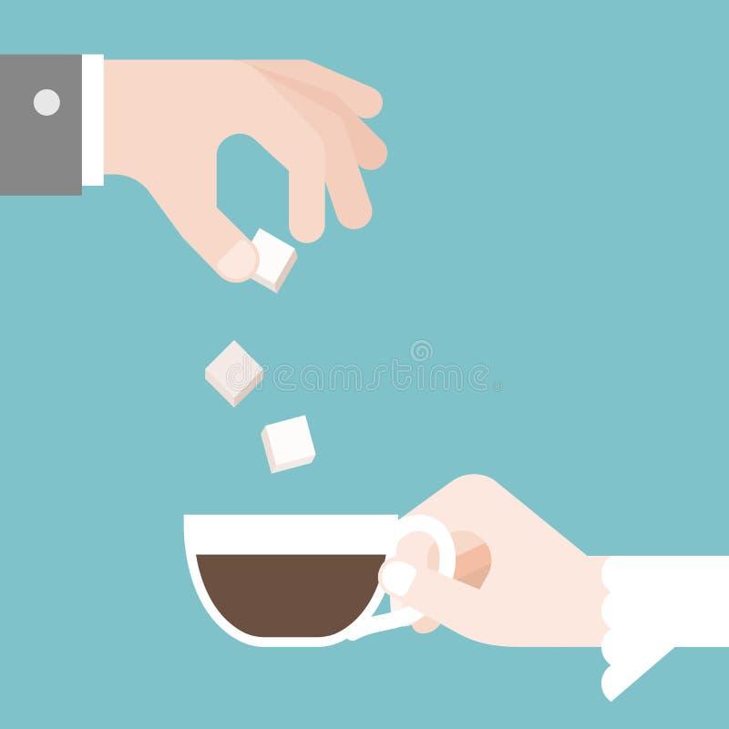 Brudgummen satte socker i kopp för kaffe för bro` s vektor illustrationer