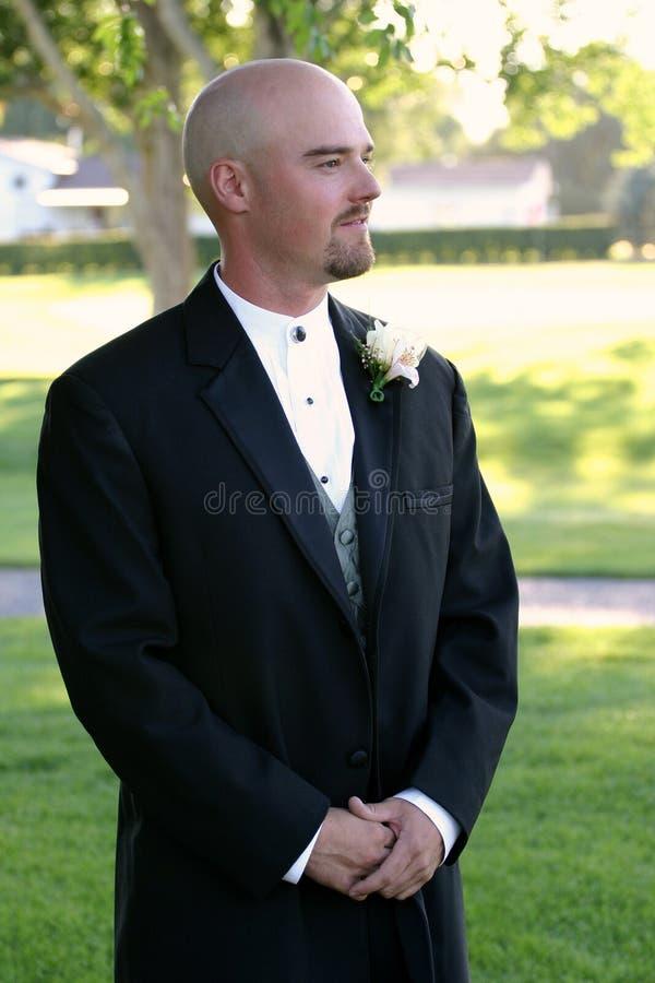 brudgummen väntar bröllop arkivfoton