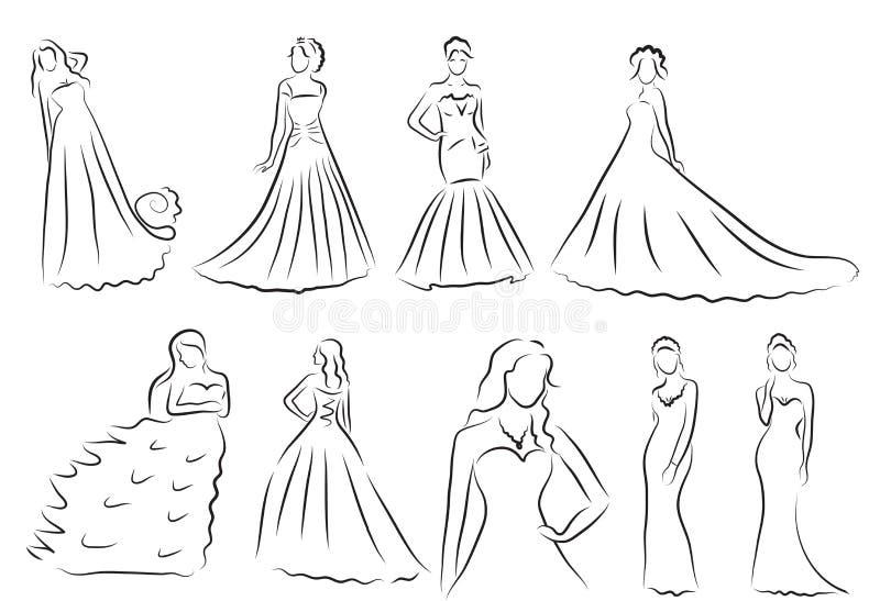 Brudkonturuppsättningen, skissar bruden, bruden i en härlig bröllopsklänning, vektor vektor illustrationer