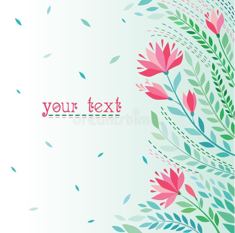 brudkortet blommar att gifta sig för hälsningscirklar stock illustrationer