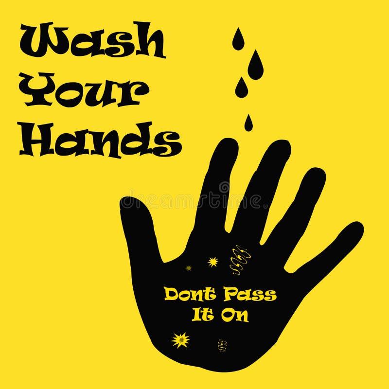 brudne ręki myją twój ilustracji