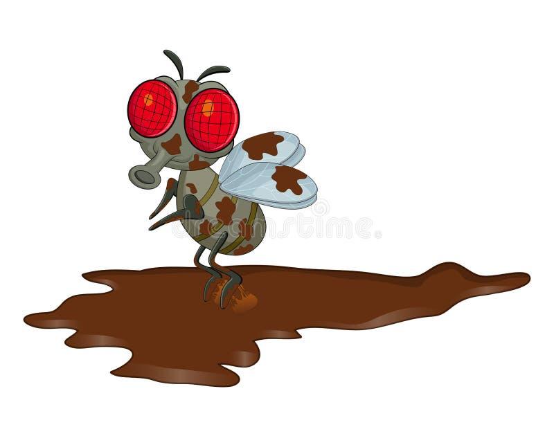Brudnego komarnicy postać z kreskówki wektorowy projekt odizolowywający na bielu plecy ilustracji
