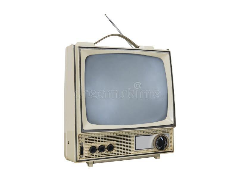 Brudnego rocznika Przenośna telewizja Odizolowywająca z Obracającym Daleko ekranem obraz royalty free