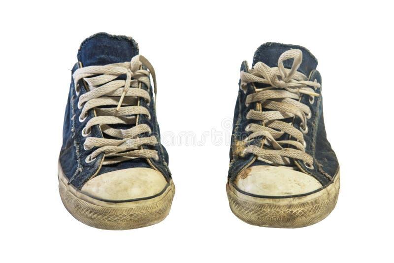 brudni sneakers lub buty odizolowywający na bielu obrazy stock