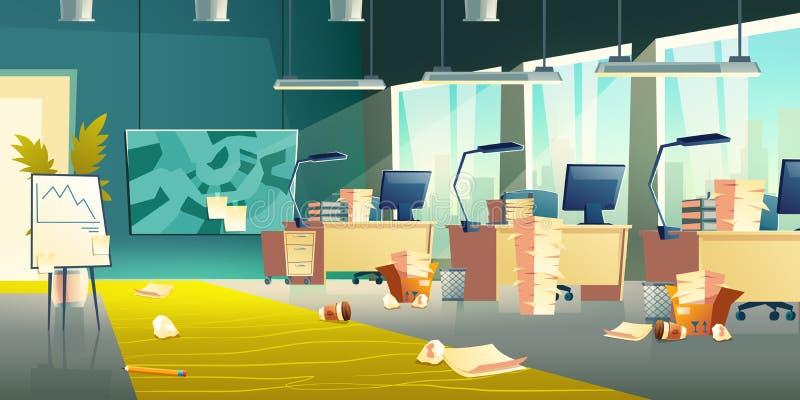 Brudny biurowy wnętrze, pusta miejsce pracy, śmieci ilustracji