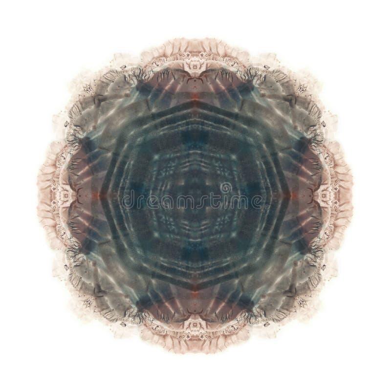 Brudny brązu i szarość kolorów akwareli blotch Abstrakcjonistyczny symmetric grunge obraz Odosobniony biały wizerunek Miejsce dla ilustracji