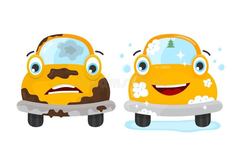 Brudny i czysty samochodu set Wektorowy płaski nowożytny ilustracja wektor