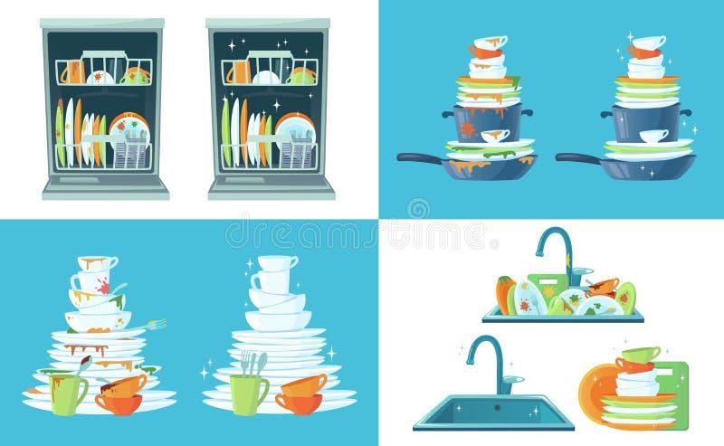 Brudny kuchenny naczynie Czyści puści naczynia, talerze w zmywarkim do naczyń i dinnerware w zlew, Myć w górę naczynie kreskówki  ilustracja wektor