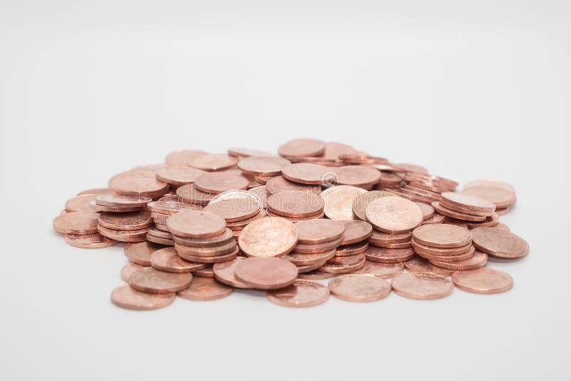 Brudny moneta groszak odizolowywający obrazy royalty free