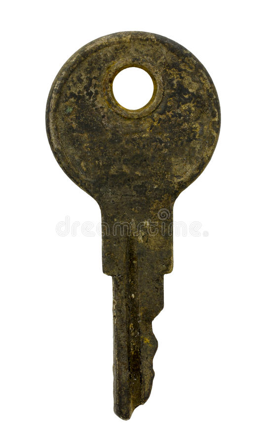 Brudny Stary klucz Odizolowywający na Białym tle zdjęcia stock