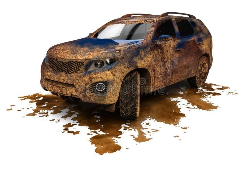 Brudny SUV samochód ilustracja wektor