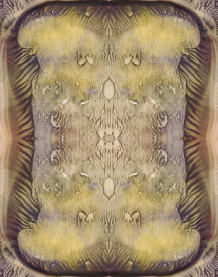 Brudnych kolorów abstrakcjonistyczny symmetric pionowo tło dla rocznika projekta Ręka rysujący akwarela obrazek Zieleń, kolor żół obrazy stock