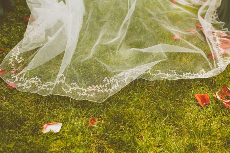 Bruds klänning över ett gräsgolv royaltyfri bild