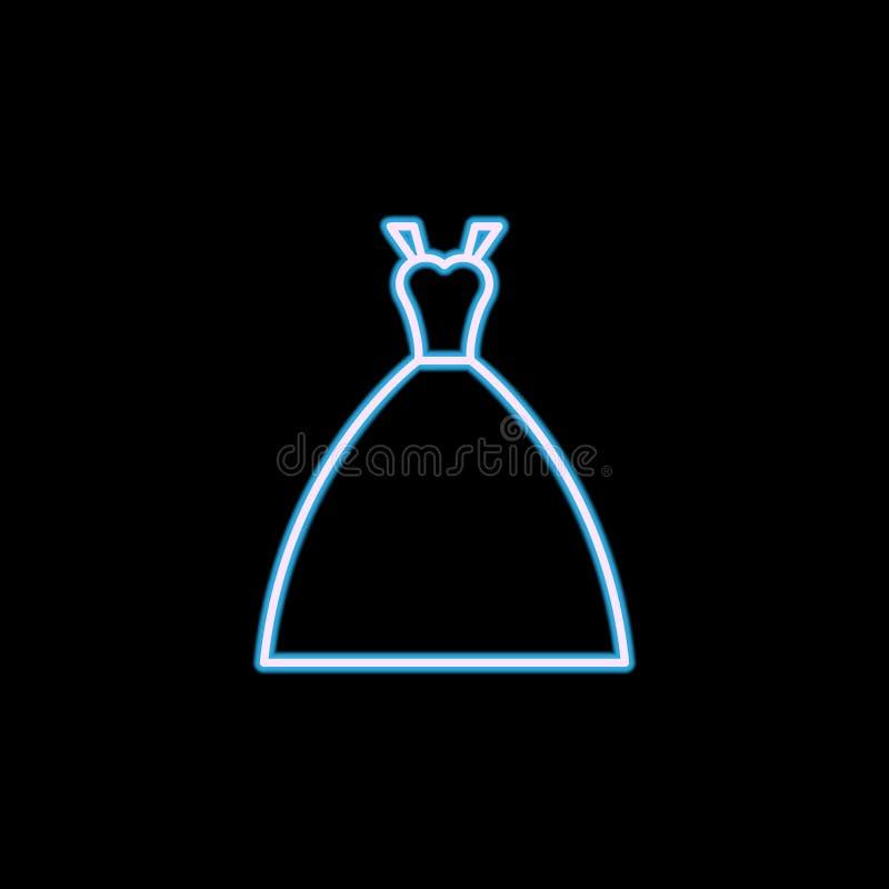 bruds klänningsymbol i neonstil En av bröllopsamlingssymbolen kan användas för UI, UX royaltyfri illustrationer