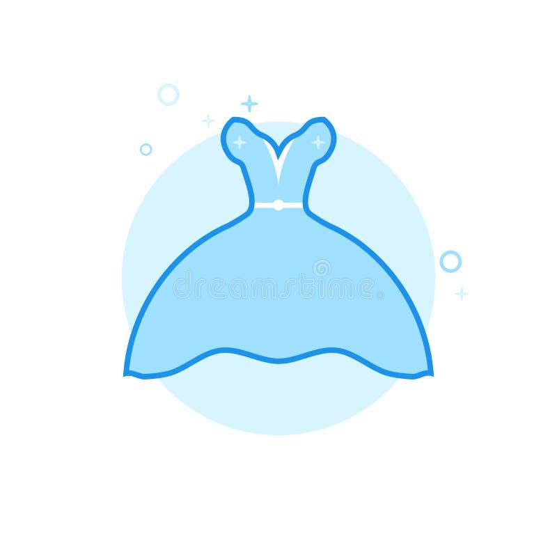 Bruds symbol för vektor för klänning plan, symbol, Pictogram, tecken Ljust - blå monokrom design Redigerbar slaglängd stock illustrationer