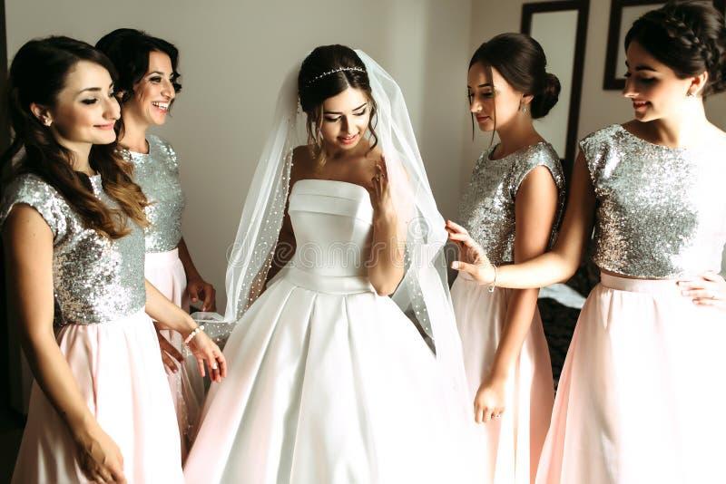 Brudtärnor och brud i den fantastiska klänningen arkivbild
