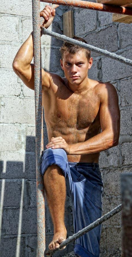 brudzi mięśnia nagich seksownych pracownika potomstwa zdjęcia stock