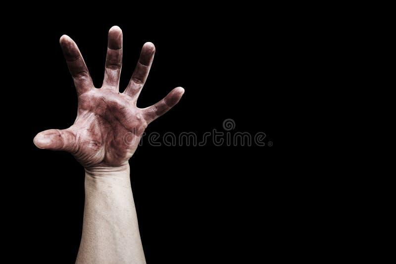 Brudzi rękę na czerni obrazy royalty free