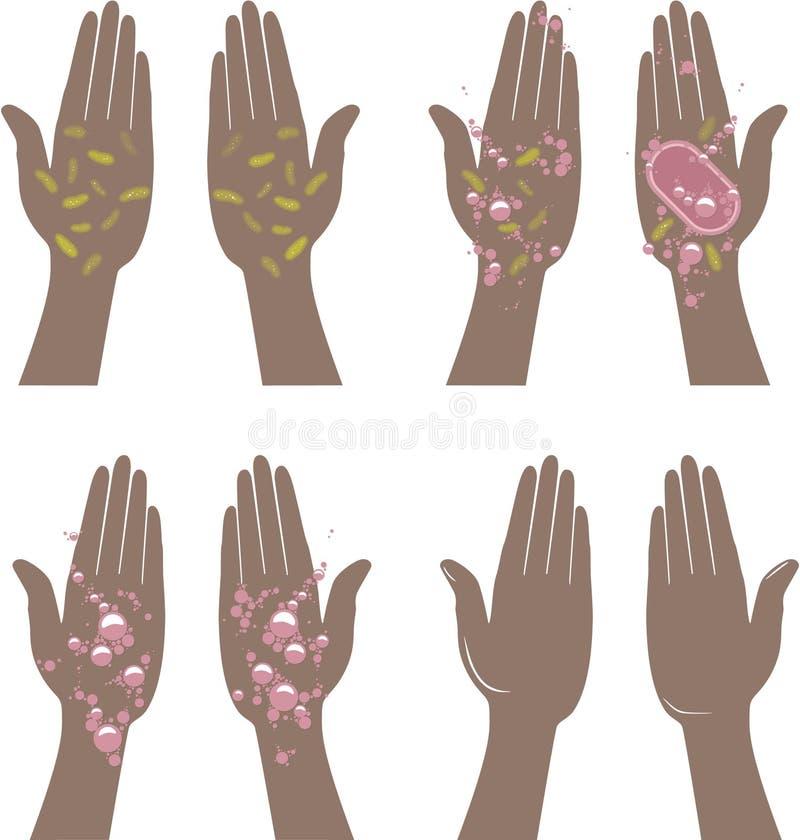 Brudzi ręki i czyści ręki ilustracja wektor