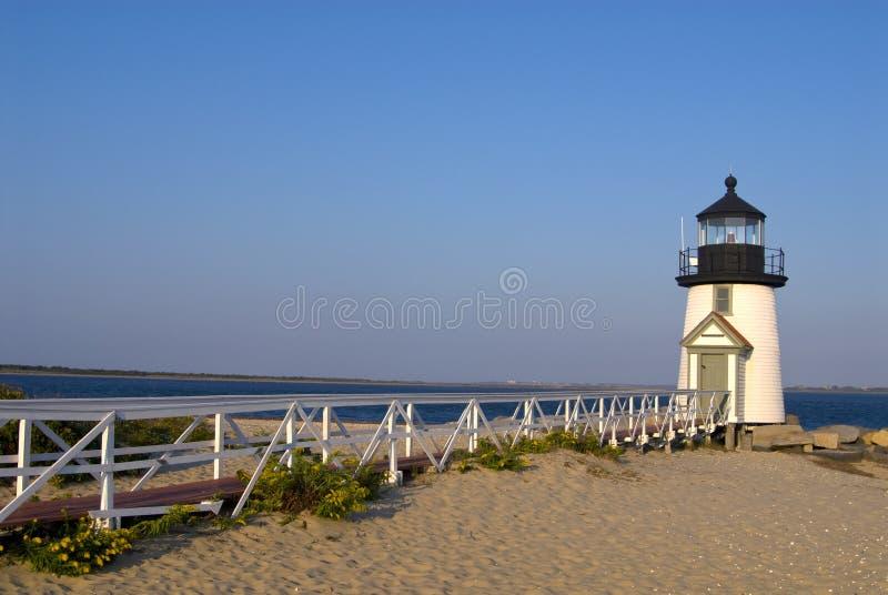 Brug aan Brant Point Light op Nantucket-Eiland stock foto's