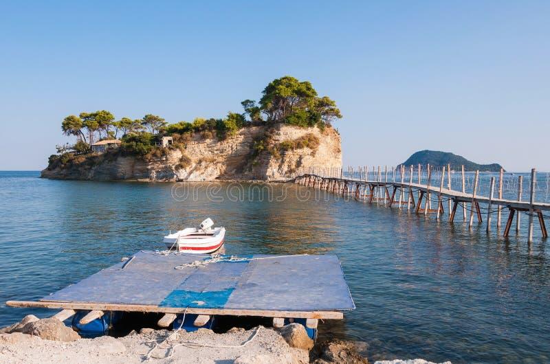 Brug aan Cameo Island op Zakynthos stock afbeeldingen