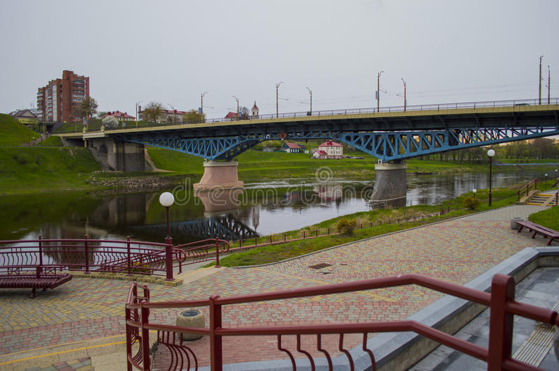 Brug in de stad van Grodno royalty-vrije stock foto's